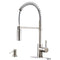 APPASO 163BN Modern Spring Commercial Pull Down Kitchen Faucet Brushed Nickel with Soap Dispenser