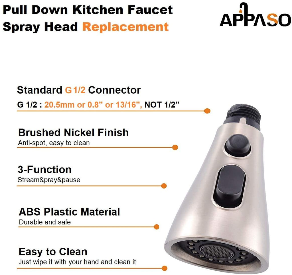 Appaso Pull Down Kitchen Faucet Sprayer Head Replacement G 1 2 Pull Out Spray Head Brushed Nickel Accessories Appaso Com Appaso Official