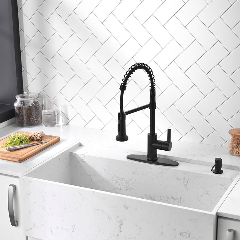 APPASO 105MB Modern Spring Kitchen Faucet Matte Black High Arc Single Handle with Soap Dispenser