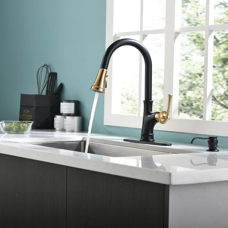 APPASO 133BBNG Pull Down Kitchen Faucet Black & Gold Magnetic Docking Sprayer with Soap Dispenser
