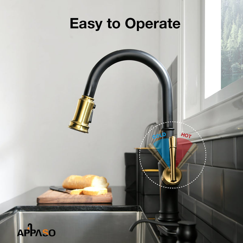 APPASO 135BBNG Pull Down Kitchen Faucet Black Gold with Magnetic Docking Sprayer and Soap Dispenser