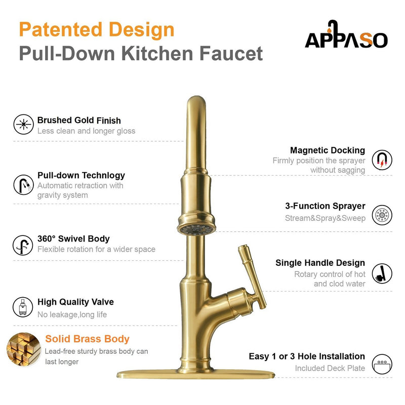 APPASO 135BTG Pull Down Kitchen Faucet Copper Gold with Magnetic Docking Sprayer and Soap Dispenser