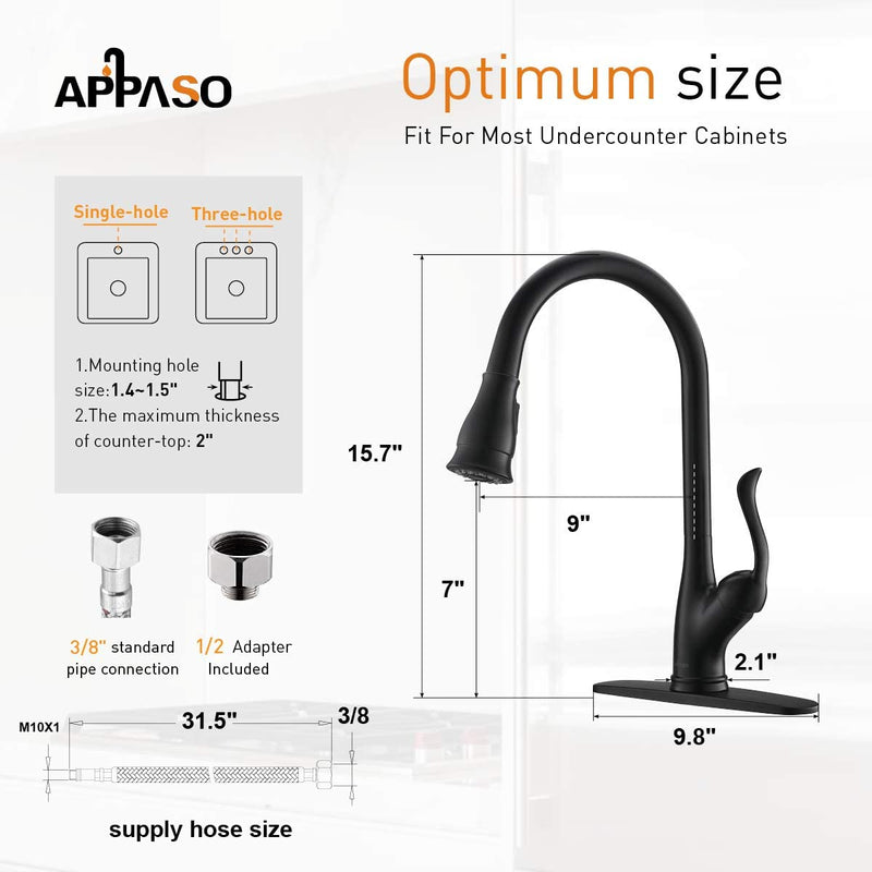 APPASO 157MB Kitchen Faucet Matte Black with Pull Down Sprayer and Deck Plate