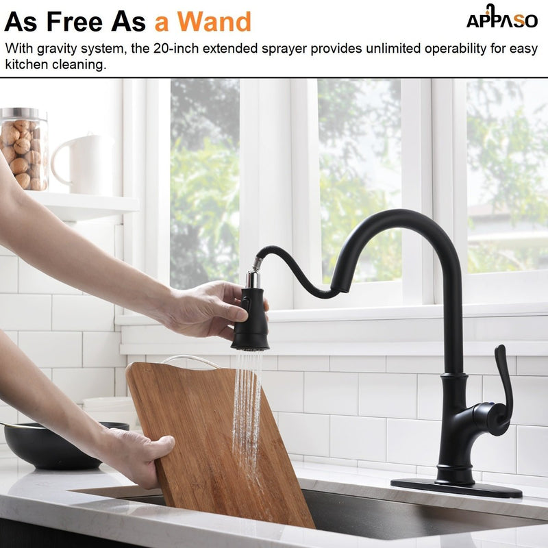 APPASO 159MB Kitchen Faucet Matte Black with Pull Down Sprayer, Soap Dispenser and Brush