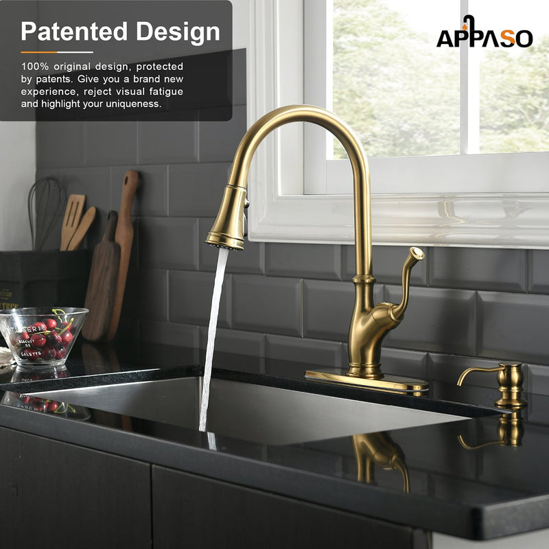 APPASO 175BTG Antique Pull Down Kitchen Faucet Gold High Arc Magnetic Docking with Deck Plate