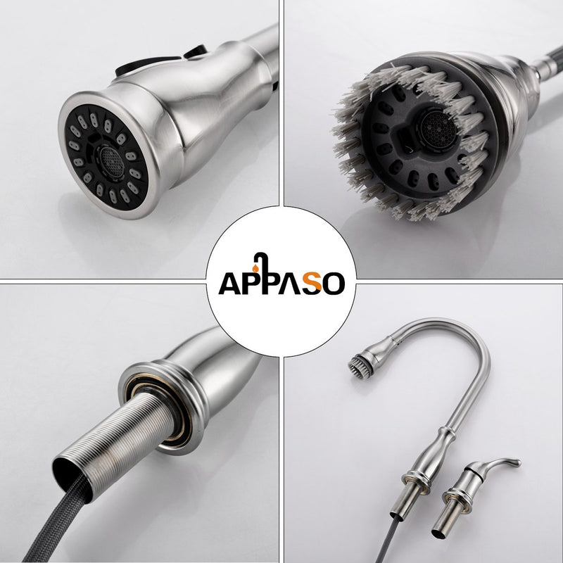 APPASO 211BN 3 Hole Kitchen Faucet Brushed Nickel with Pull Down Magnetic Docking Sprayer