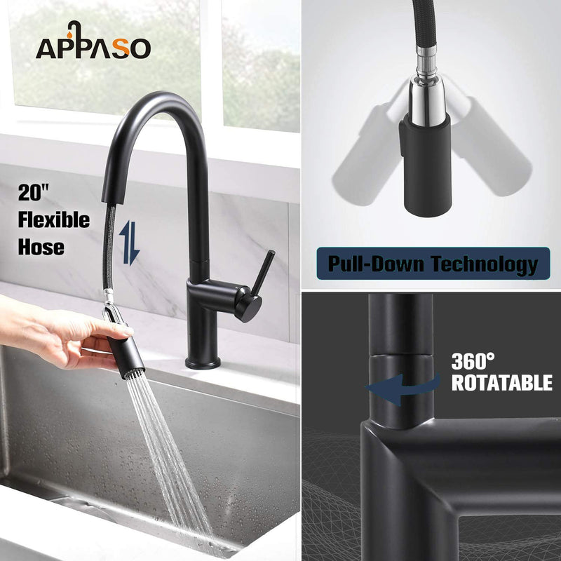 APPASO 232-MB Modern Swan-Neck Kitchen Faucet Matte Black with Magnetic Docking Multi-Flow Sprayer