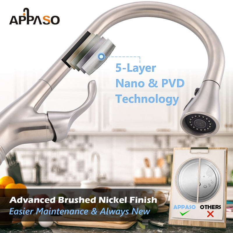 APPASO 123BN Kitchen Faucet Brushed Nickel Single Handle with Pull Down Spray Head