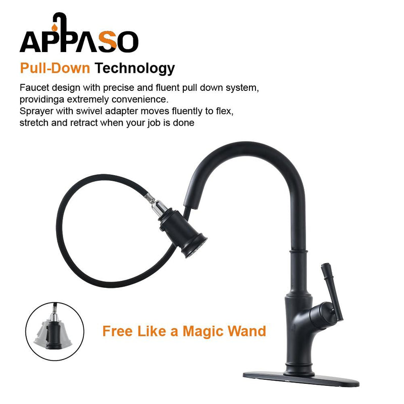 APPASO 135MB Pull Down Kitchen Faucet Matte Black with Magnetic Docking Sprayer and Soap Dispenser
