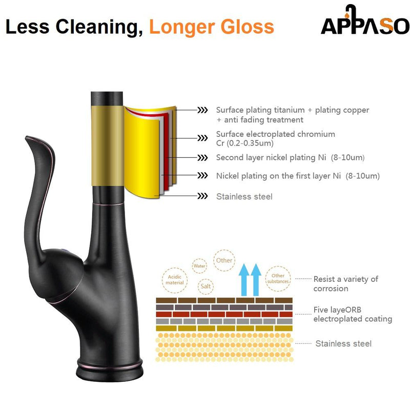 APPASO 148ORB Single Handle Pull Down Kitchen Faucet Oil Rubbed Bronze Single Hole