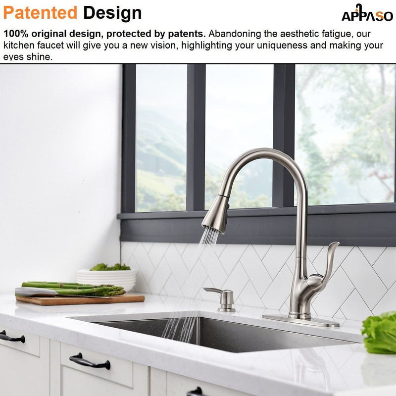 APPASO 149BN Pull Down Kitchen Faucet Brushed Nickel with Soap Dispenser