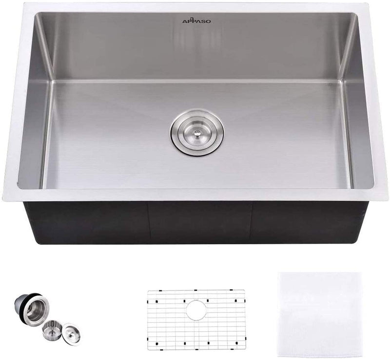 APPASO R301810 30-Inch Single Bowl Handmade Kitchen Sink 10 inch Deep Large Drop-in 18 Gauge Commercial Stainless Steel