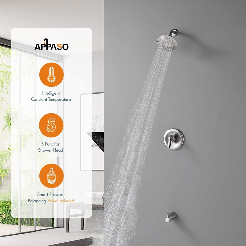 APPASO Shower Faucet Rain Shower System Wall Mounted Rainfall Shower Combo Brushed Nickel 124BN
