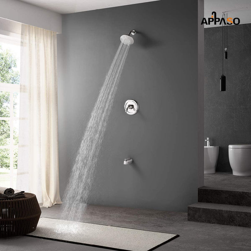 APPASO Shower system Shower Faucet Single Handle with Tub Spout Kit Wall Mount Brushed Nickel 121BN