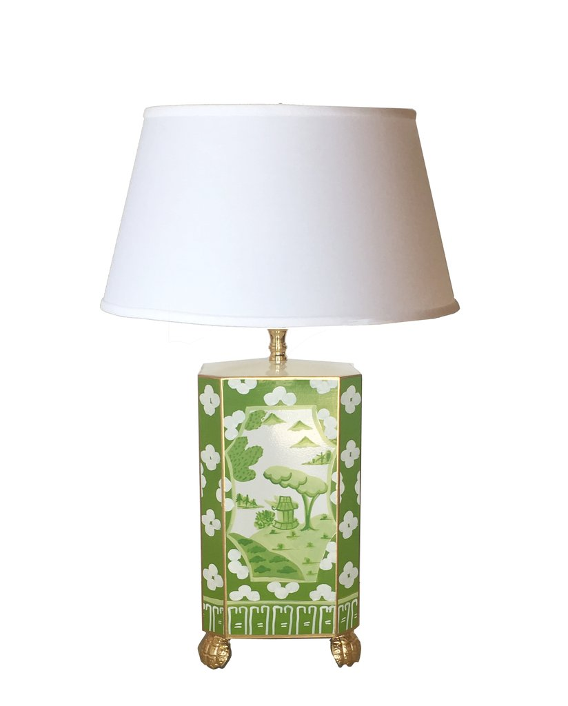 Dana Gibson Canton In Green Lamp with White Shade