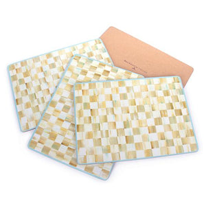 Mackenzie-Childs Parchment Check Cork Back Placemats (Set of 4)