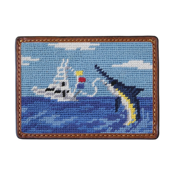 Smathers & Branson Offshore Fishing Needlepoint Card Wallet
