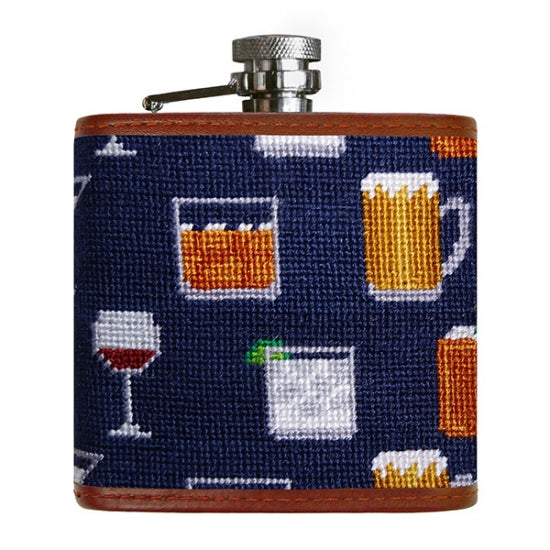 Smathers & Branson Gentlemen's Drinks Needlepoint Flask