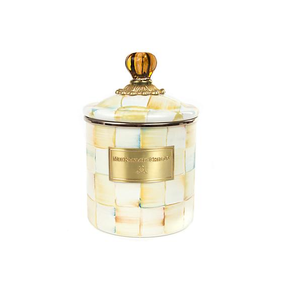 Mackenzie-Childs Parchment Check Enamel Canister (Small)