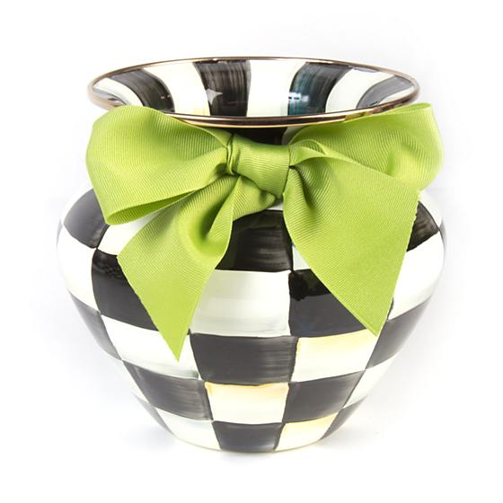 Mackenzie-Childs Courtly Check Enamel Vase (Green Bow)