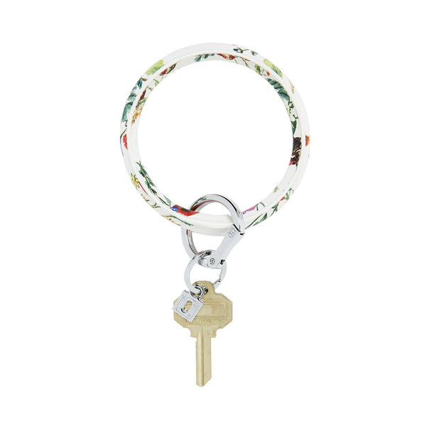 Big O Leather Key Ring (White Floral)