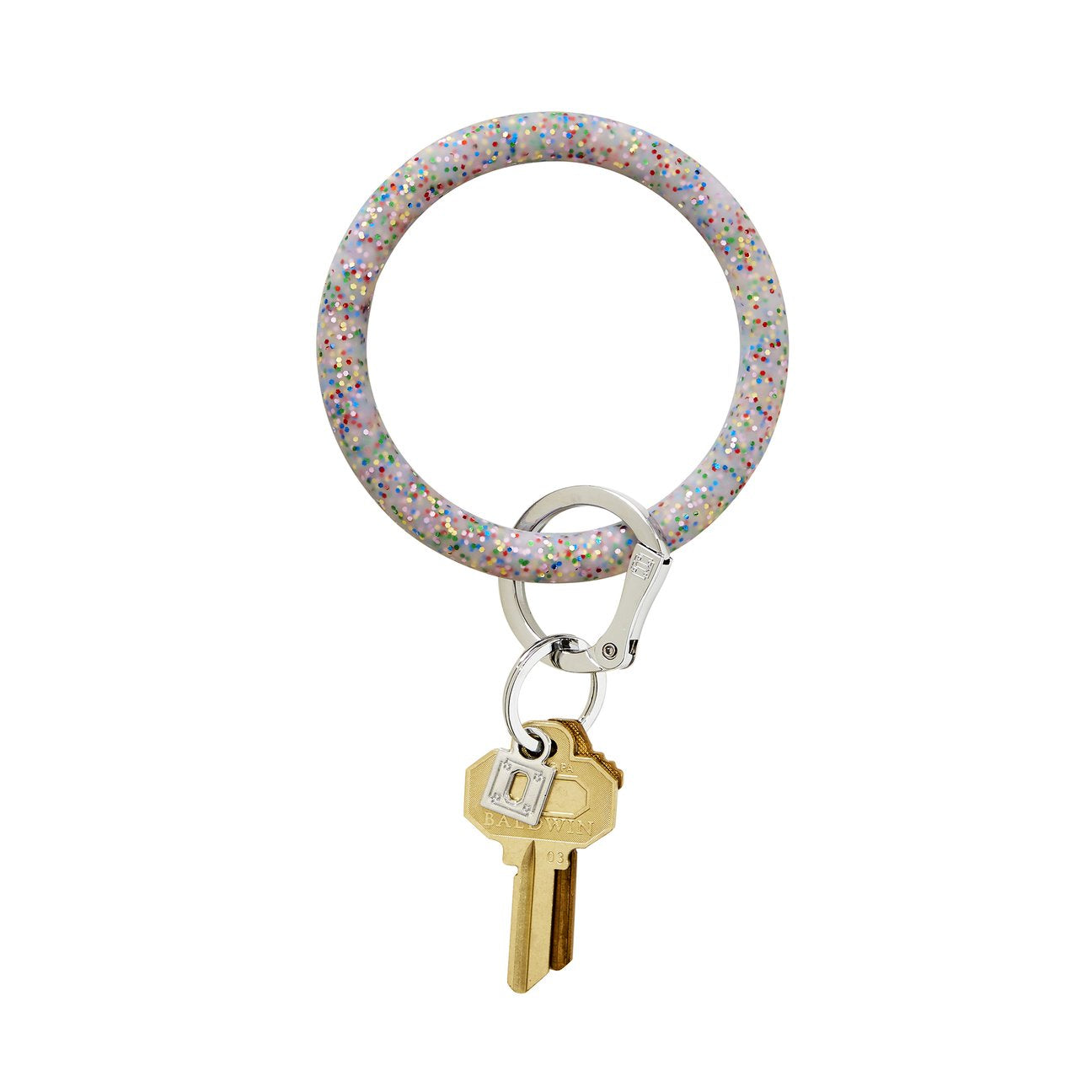Big O Silicone Key Ring (Rainbow Confetti)