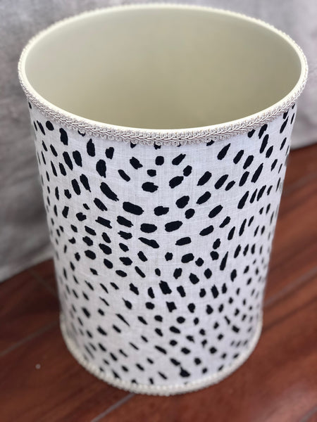 Jan Sevadjian Dalmatian Upholstered Waste Basket