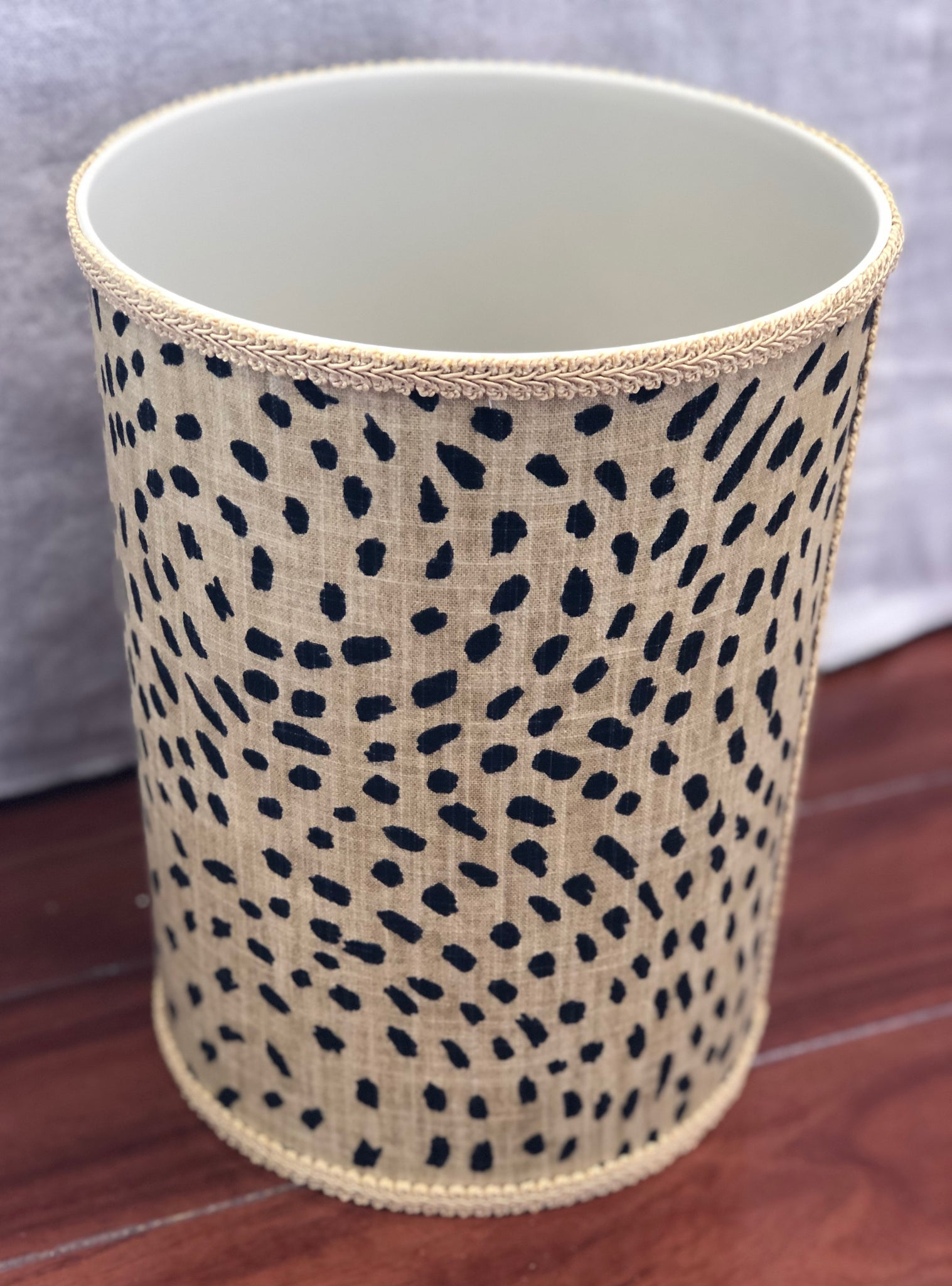 Jan Sevadjian Leopard Upholstered Waste Basket