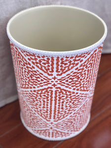 Jan Sevadjian Orange & White Upholstered Waste Basket