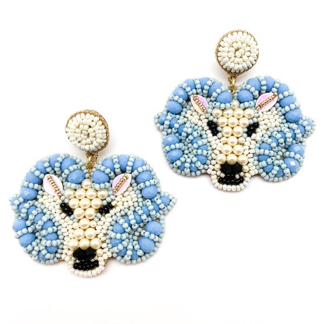 Allie Beads UNC Ram Earrings