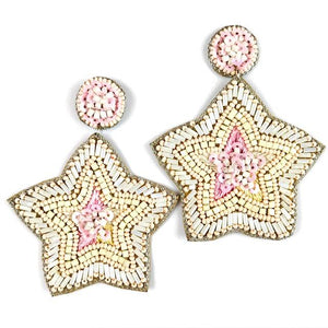 Allie Beads Cream & Pink Star Earrings