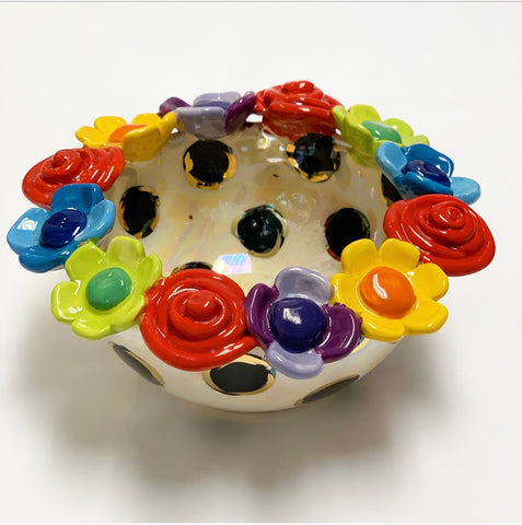 Mary Rose Young Rose Encrusted Bowl (Black Polka Dots)