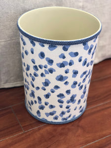 Jan Sevadjian Blue Cheetah Upholstered Wastebasket