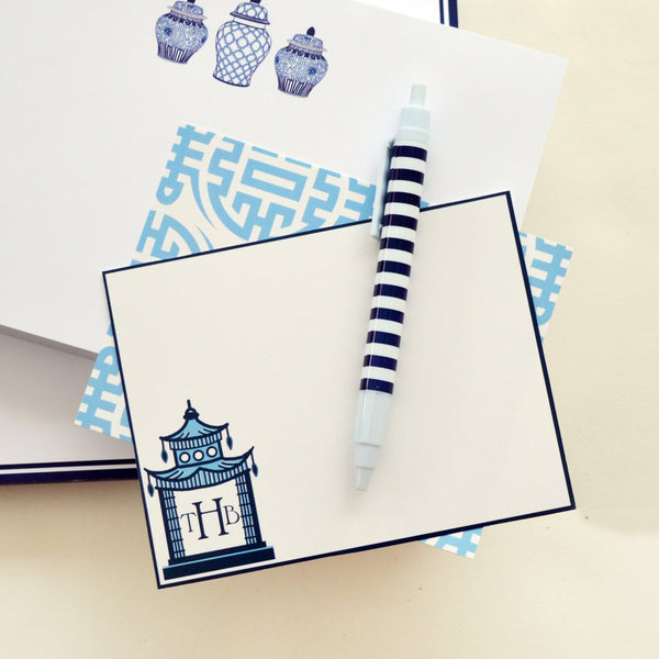WH Hostess Chinoiserie Pagoda Flat Notecards