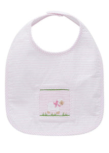 Smocked Seersucker Sheep Bib (Pink)