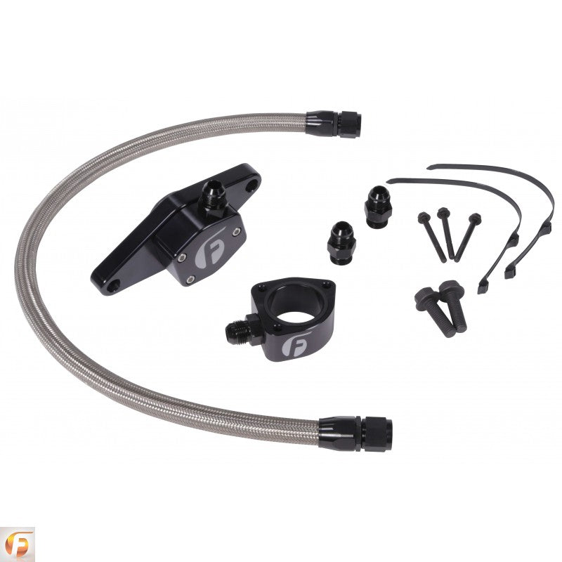 Cummins Coolant Bypass Kit VP 98.5-02 with Stainless Steel Braided Line Fleece Performance FPE-CLNTBYPS-CUMMINS-VP-SS