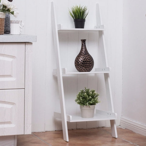 Minimalist Modern  3-Tier Leaning Ladder Shelves