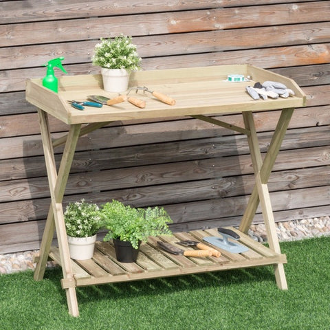 Wood Potting Bench, Console Serving Table