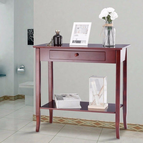 Console Table Classic 2-Tier Wood Porch Table