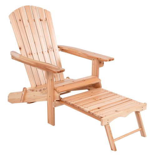 Foldable Chair Wood with Removable Ottoman