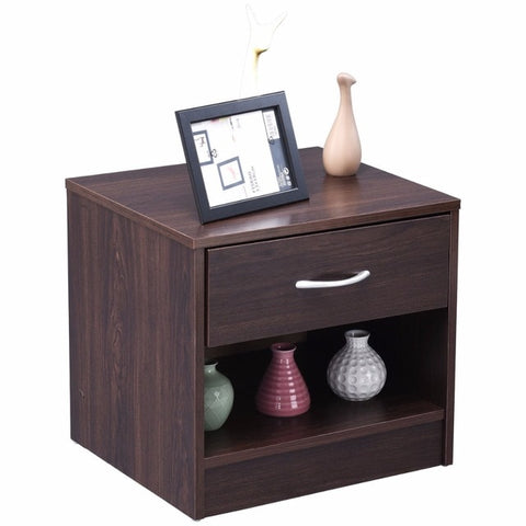 Wooden Nightstand\End Table, 1 drawer, 1 Shelf