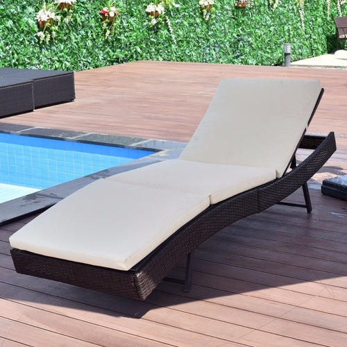 Patio Sun Bed Adjustable Pool Wicker