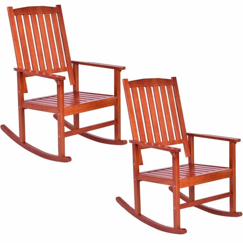 Set of 2 Solid Wood Rocking Chairs, Porch Rockers
