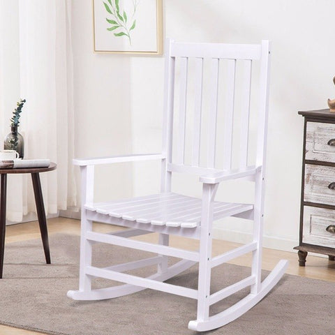White Solid Wood Rocking Chair, Ideal Porch Rocker