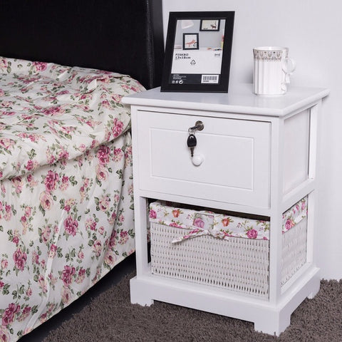 Wood Night Stand 2-Tiers, 1 Drawer Bedside Table