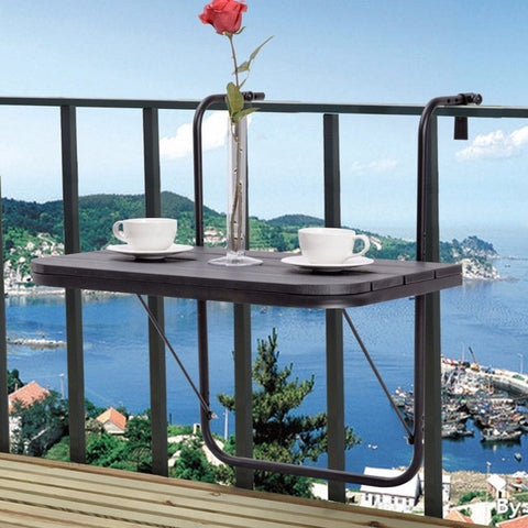 Adjustable Folding Desk Table, Hooks to Patio Rail