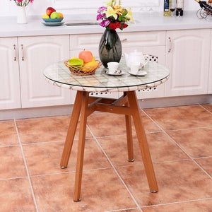 Round Dining Table, Tempered Glass on Pedestal