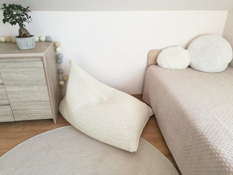 hypoallergenic knitted BEAN BAG/ floor cushion