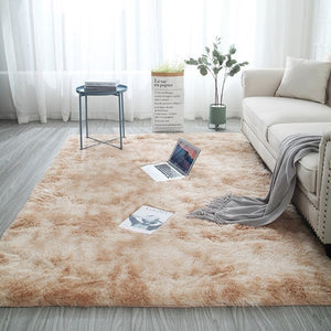 Mottled tie dyed gradient carpet living room long hair washable mat encryption thickening rug soft and comfortable blanket