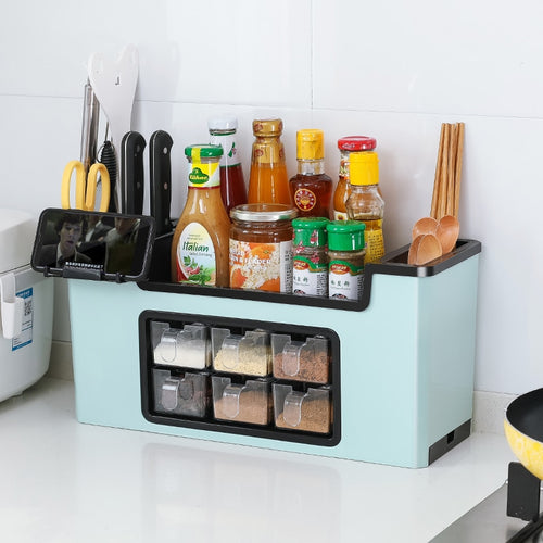 Multi-function seasoning box rack meal knife fork spice kitchen storage rack spice supplies seasoning storage tank set ZP3141446